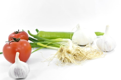 agriculture, chives, garlic, onion, organic, pepperoni, products, tomatoes, wild onion, ingredients