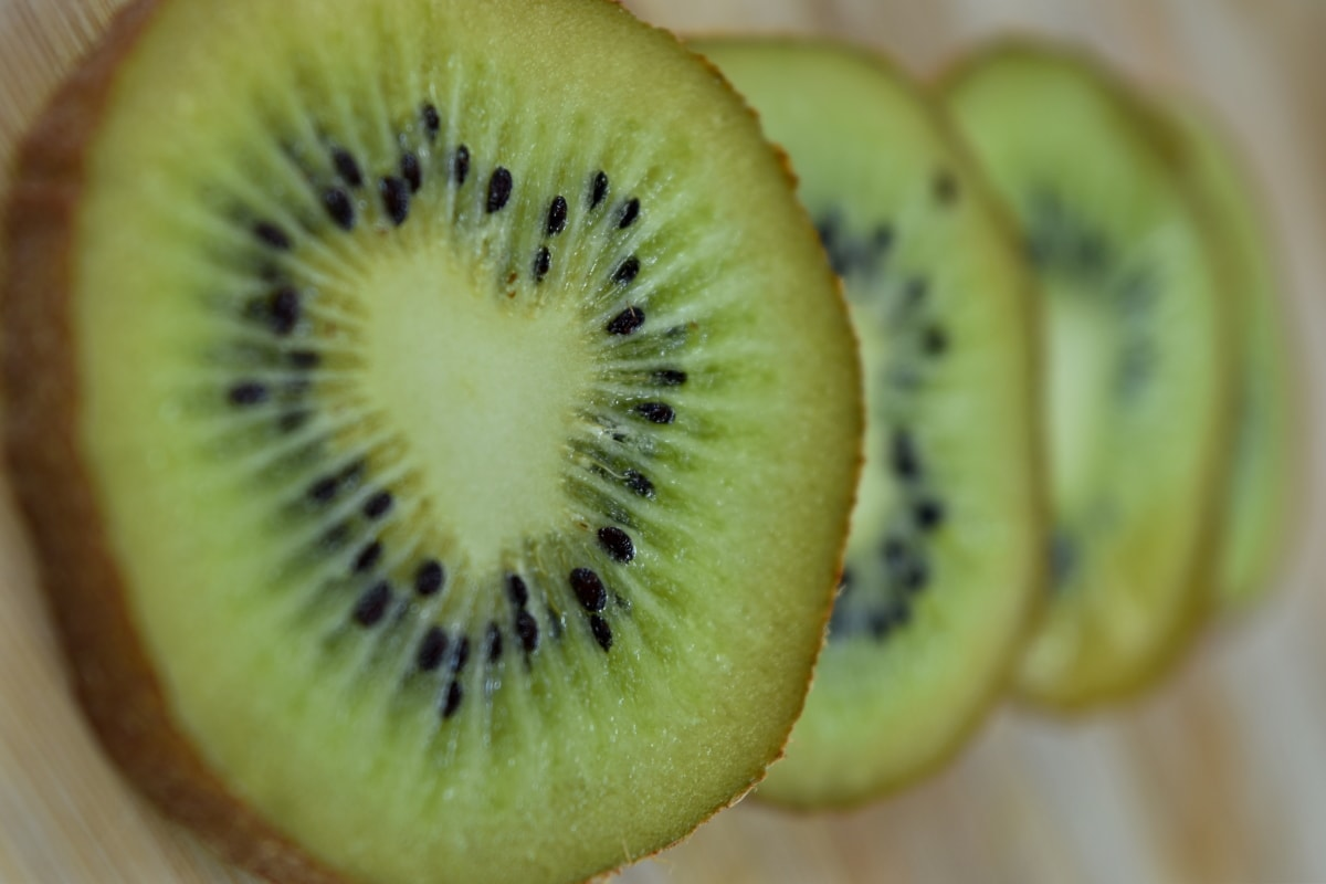 Kiwi, makro, skiver, mad, frisk, skive, frugt, kost, tropisk, sund