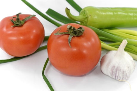 fresh, garlic, tomatoes, wild onion, agriculture, bright, calorie, chili, chives, color