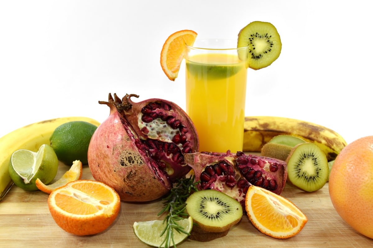 banana, beverage, citrus, fresh water, fruit cocktail, fruit juice, grapefruit, kiwi, orange peel, oranges