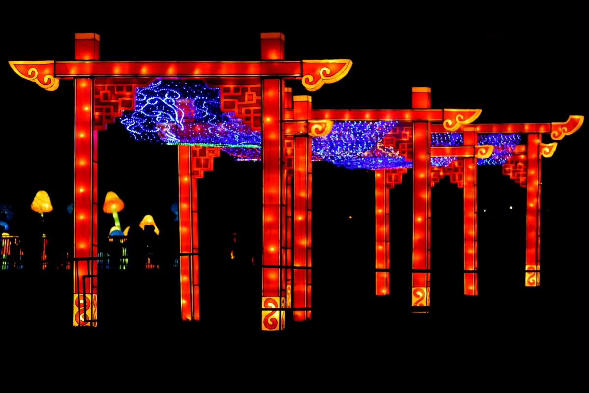 artwork, Asia, China, colorful, gateway, night, stained glass, light, art, neon