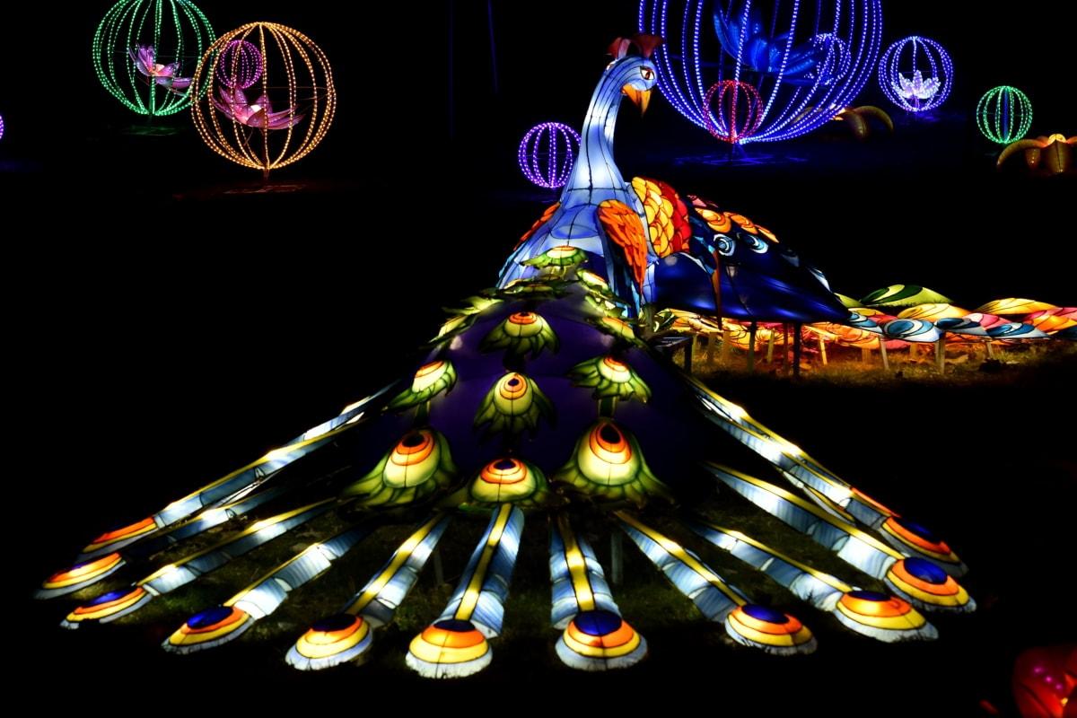 artwork, colorful, fantasy, peacock, sculpture, spectacular, light, color, art, design