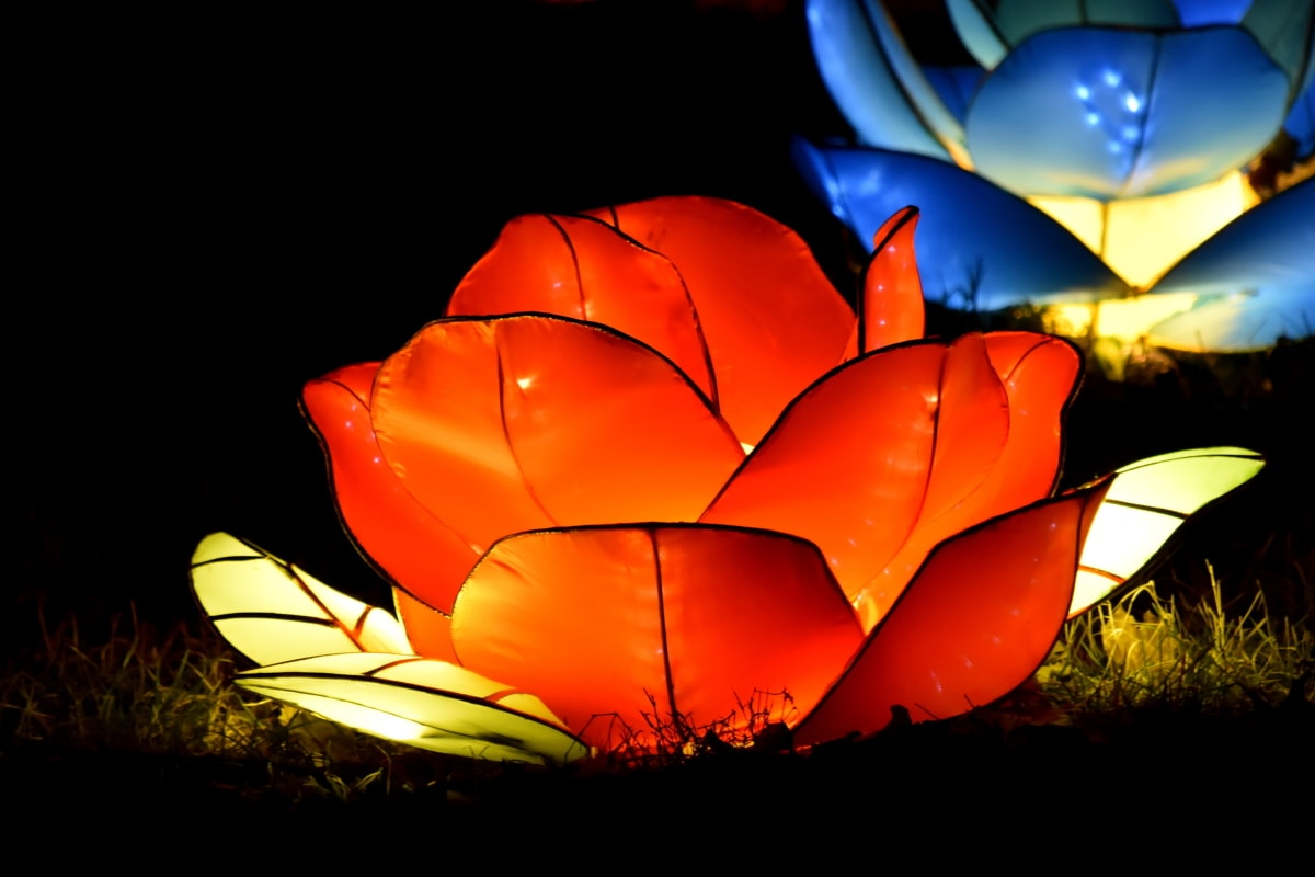 darkness, electricity, flower, handmade, lamp, luminescence, night, red, sculpture, art