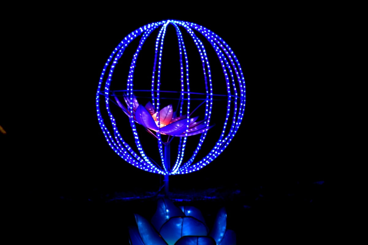 blue, darkness, electric, flower, handmade, lamp, sculpture, vibrant, wires, design