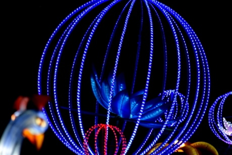 art, blue, flower, handmade, illumination, light, neon, round, sculpture, sphere