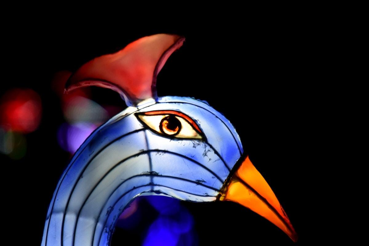 art, bird, illumination, night, peacock, sculpture, stained glass, illustration, animal, design
