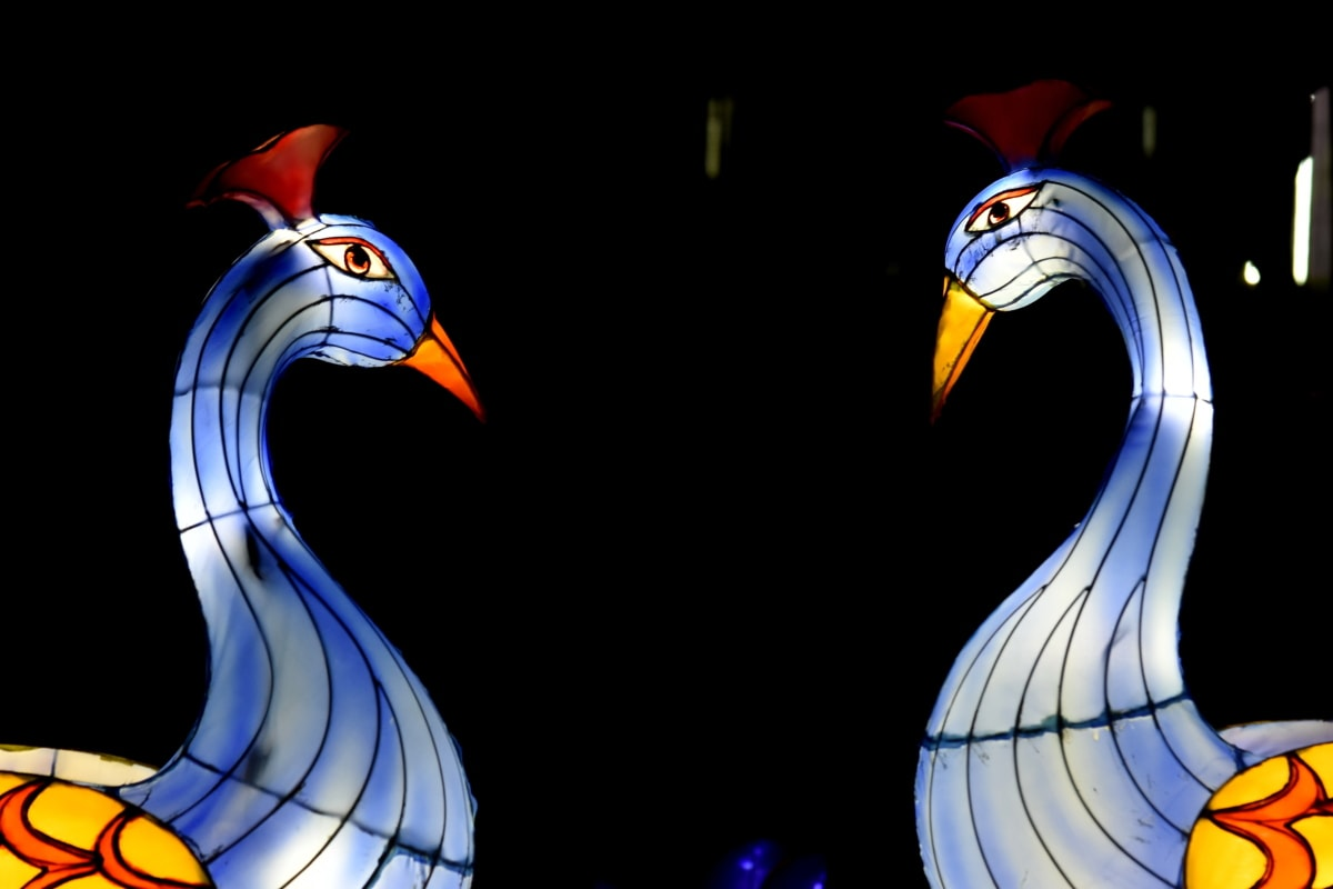 arte, colorido, decoración, fantasía, lámpara, pavo real, escultura, espectacular, pájaro, diseño