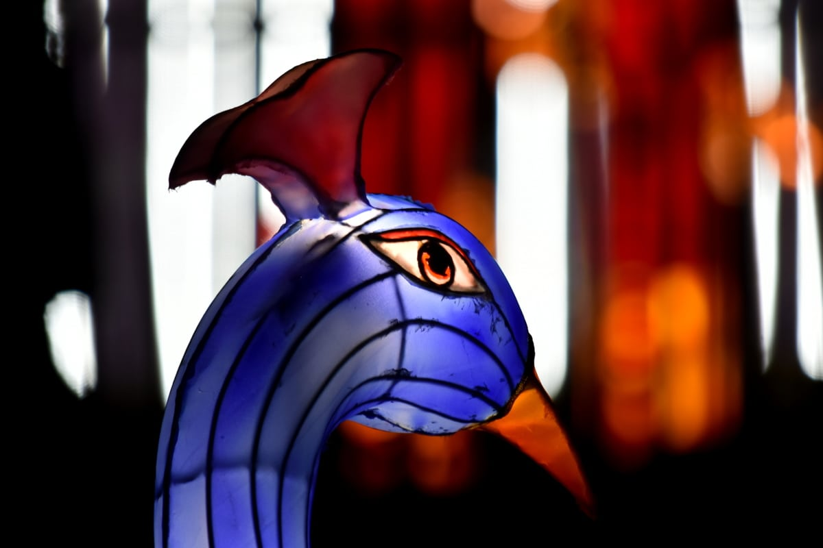 art, bird, handmade, head, illumination, peacock, sculpture, stained glass, color, light