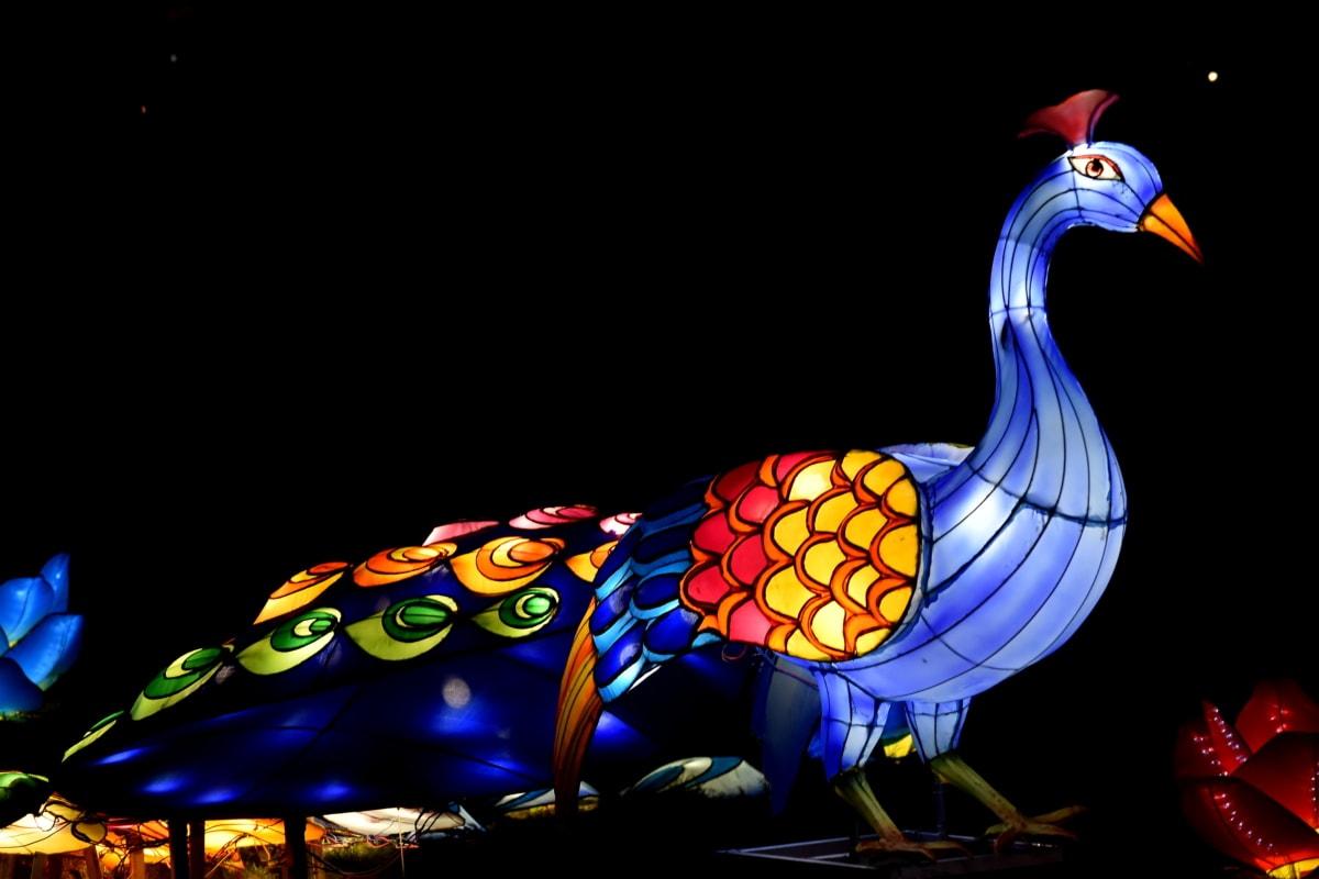 kunstnerisk, kunstverk, fuglen, fargerike, eleganse, håndlaget, natt, påfugl, figur, spektakulære