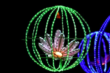 artwork, design, electricity, futuristic, illumination, lamp, lily pad, round, shape, wires