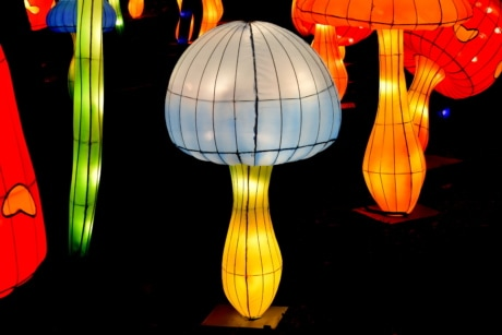 Asian, chinese, colorful, lamp, luminescence, mushrooms, abstract, art, black, bright