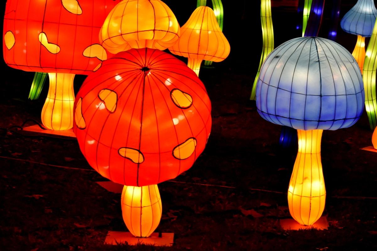 arte, artístico, brilhante, lanterna, luminescência, cogumelos, escultura, Resumo, Outono, celebração