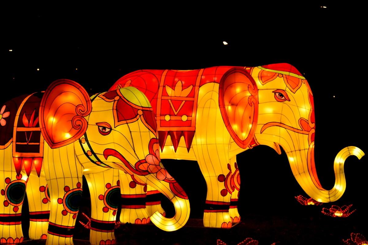 Asia, China, culture, decoration, elephant, heritage, sculpture, design, fun, light