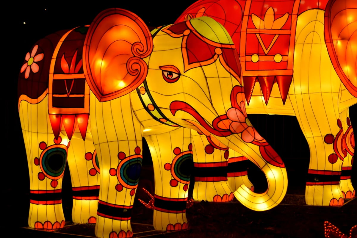 art, colorful, elephant, handmade, illuminated, illustration, light, sculpture, visuals, bright