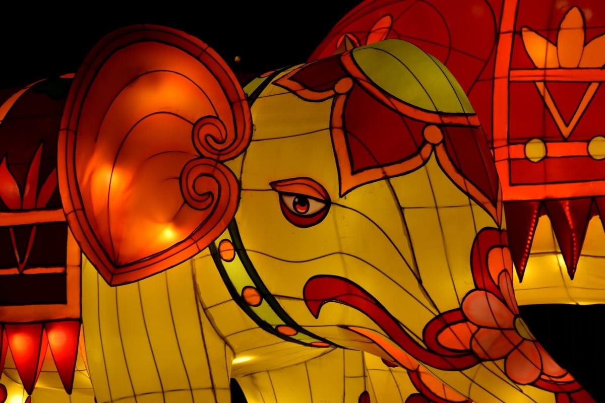 art, baby, beautiful, elephant, illumination, light, red, sculpture, show, bright