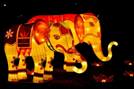 animals, elephant, fantasy, sculpture, spectacular, stained glass, art, design, light, celebration