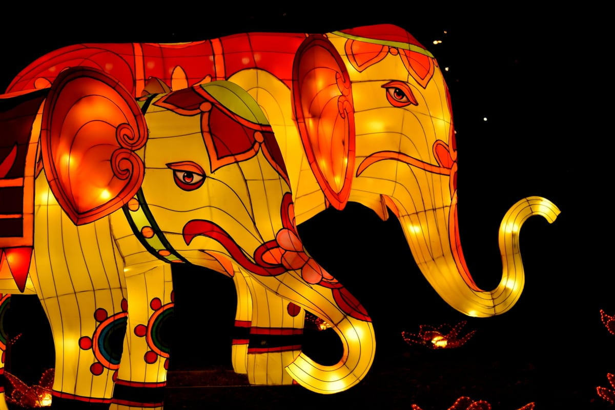 artwork, colorful, elephant, futuristic, illumination, spectacular, stained glass, design, art, light