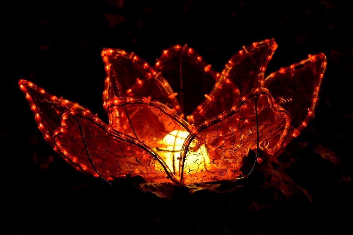 アートワーク, ランプ, 光, リリーパッド, 赤, ステンド グラス, ワイヤ, 抽象的な, 暗い, テクスチャ