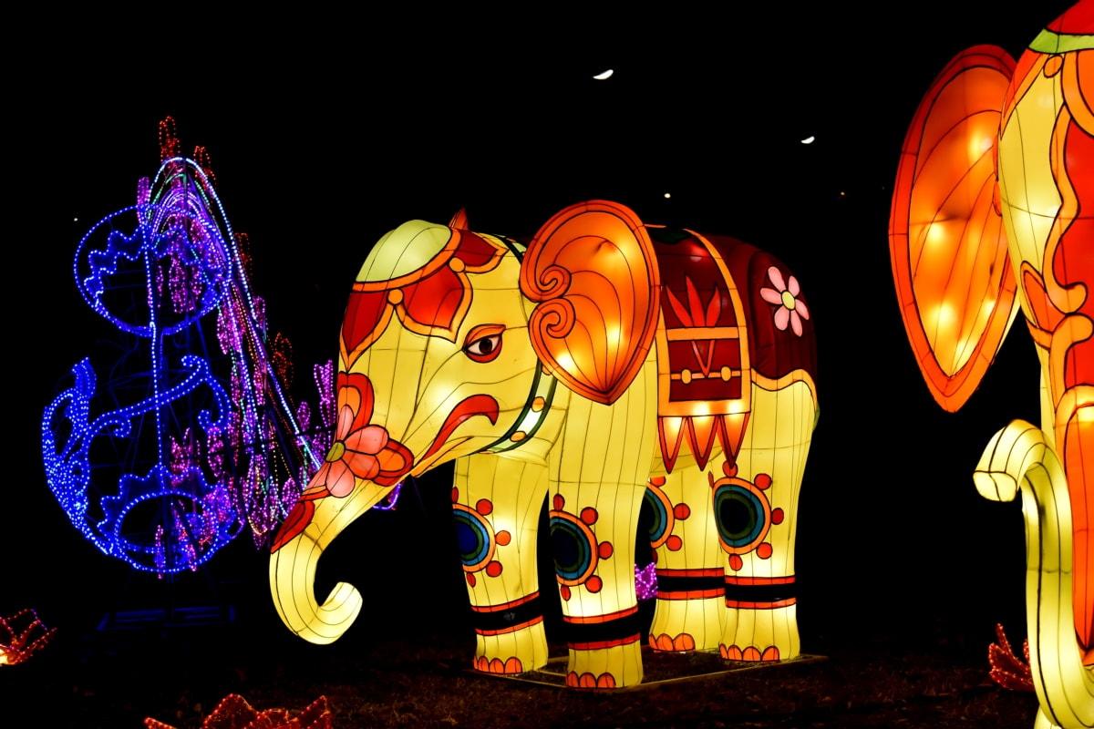 China, colorido, elefante, património, escultura, vidro manchado, tradicional, vibrante, arte, luz