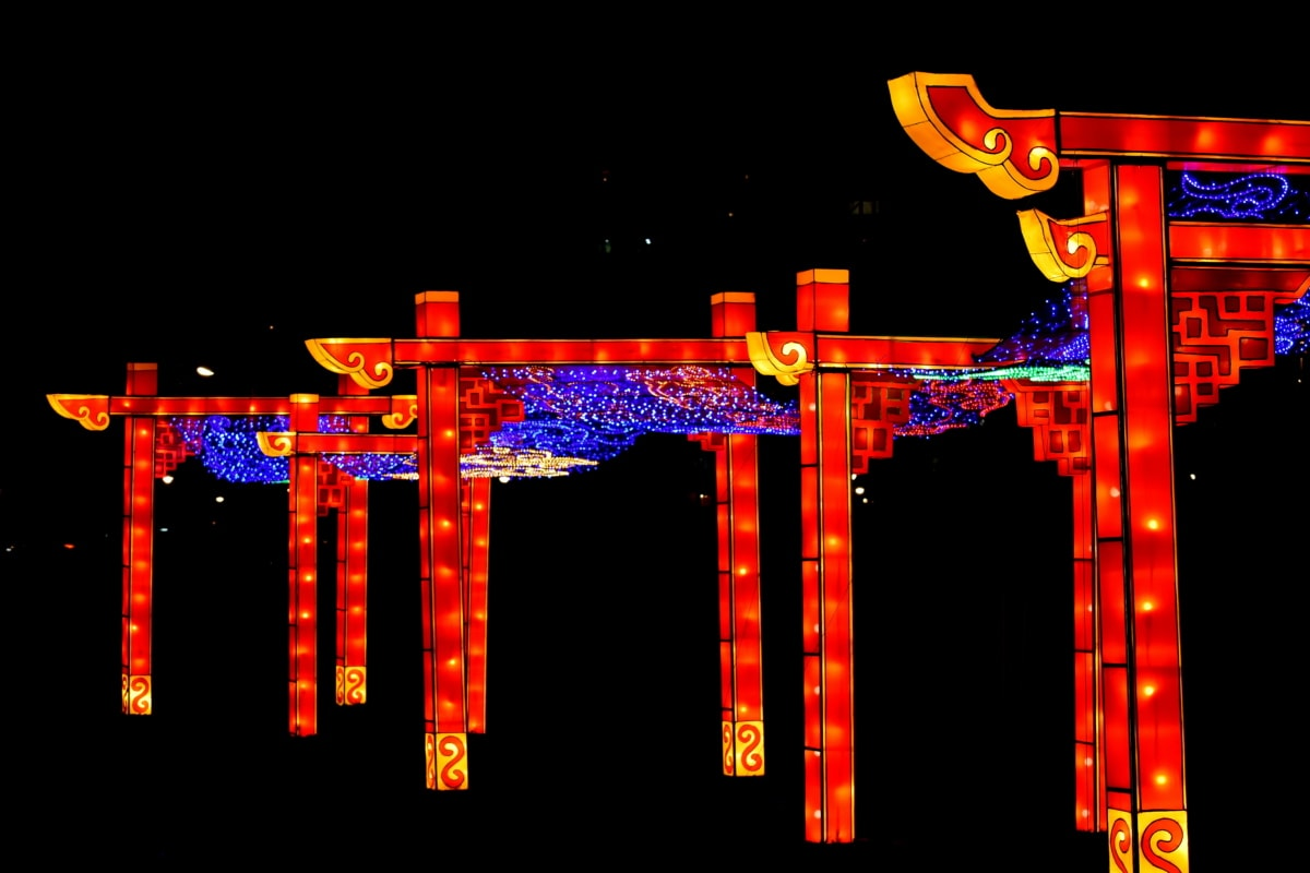 China, culture, gate, heritage, night, presentation, light, neon, art, bright