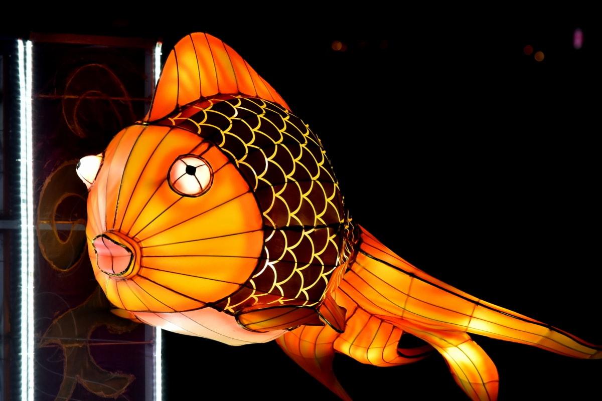 taidetta, värikäs, sähkön, kala, kultakala, käsintehty, lamppu, lasimaalaus, suunnittelu, kuva