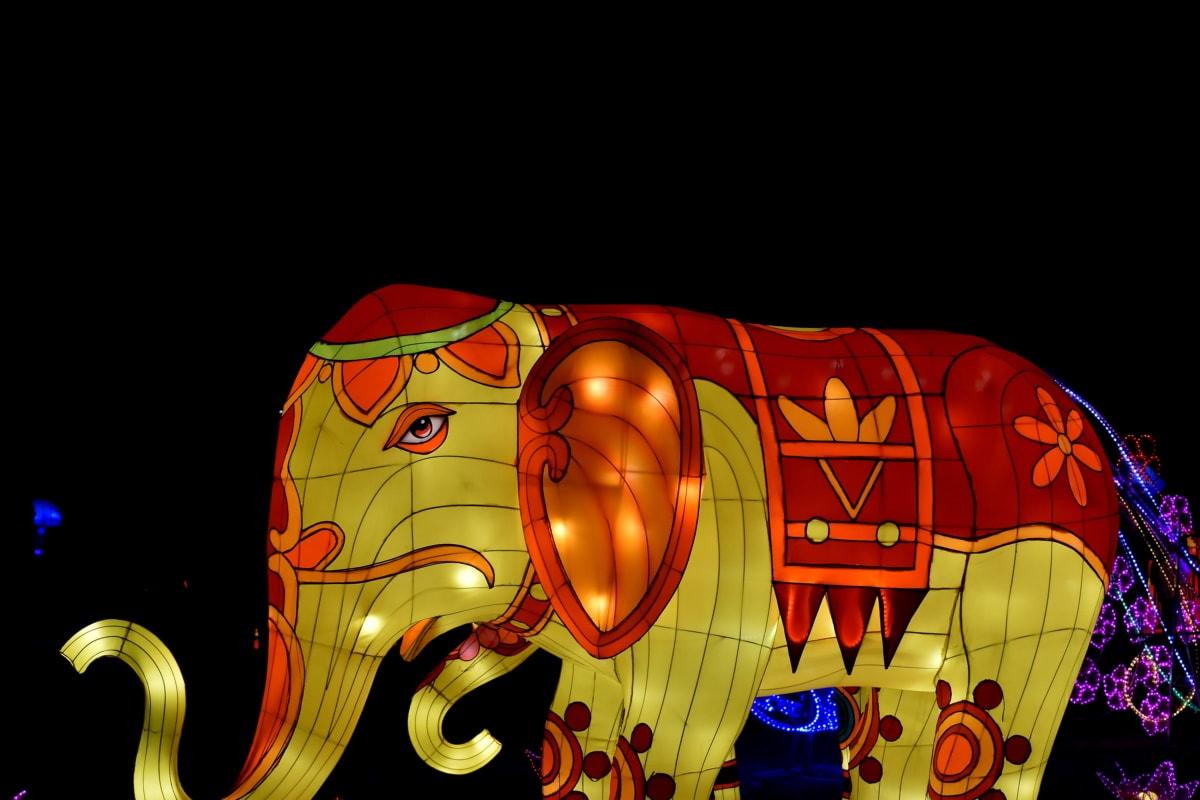 životinje, šareno, slon, osvjetljenje, izlog, umjetnost, svijetlo, proslava, boja, dekoracija