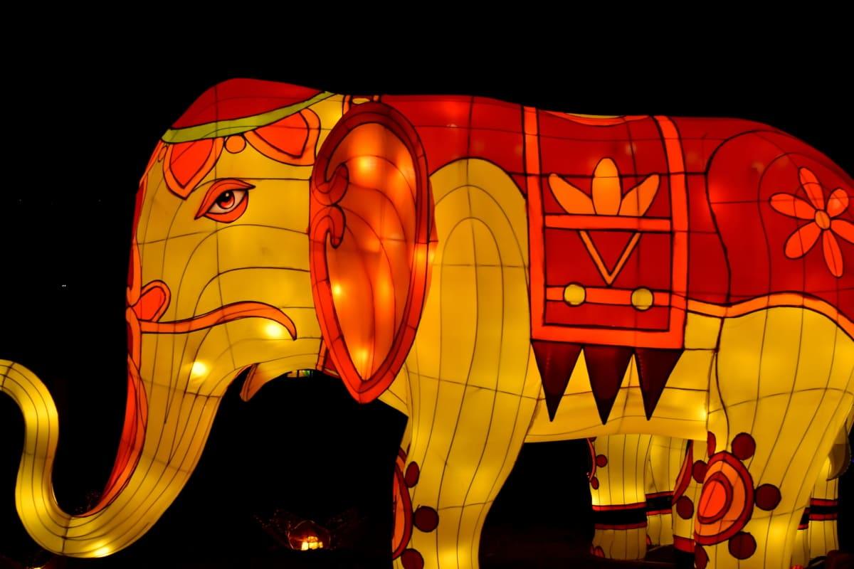 artwork, big, China, colorful, elephant, fancy, stained glass, lantern, illustration, light