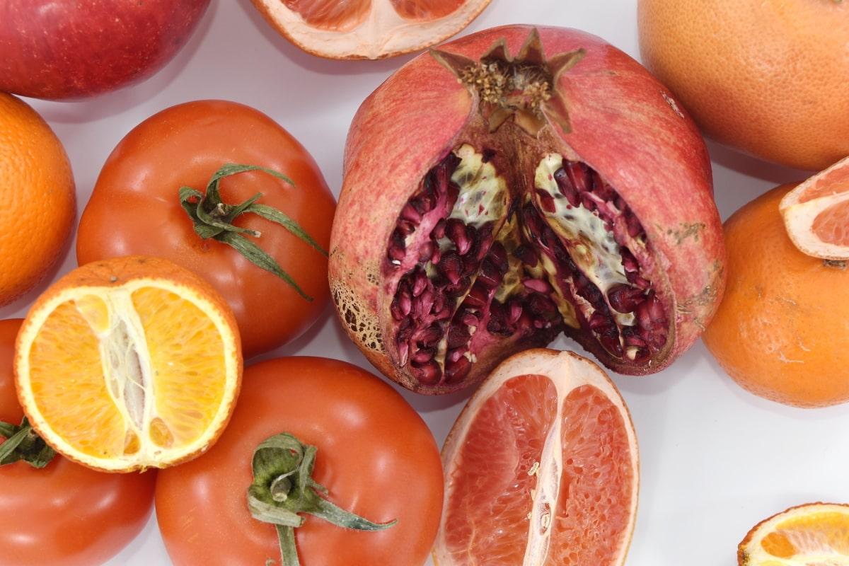 fruit, grapefruit, mandarin, red, tomatoes, vegetables, vegetable, produce, tomato, fresh