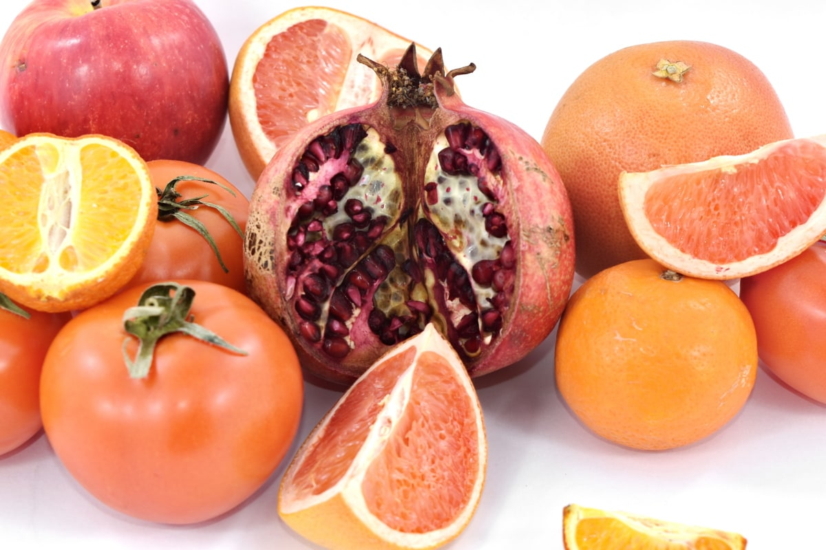apple, cross section, grapefruit, pomegranate, tomatoes, fresh, citrus, food, diet, vitamin