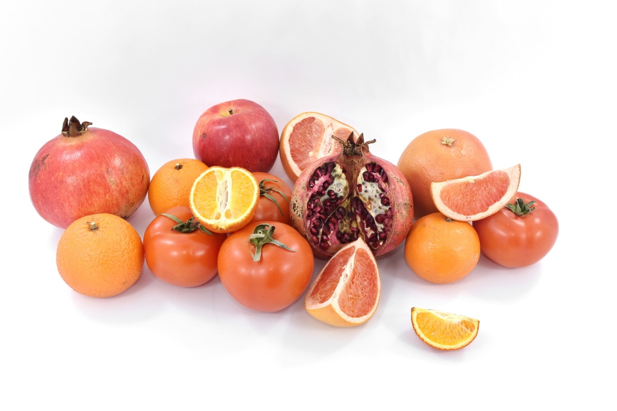 Jablko, citrusové, ovoce, grapefruity, mandarinka, Granátová jablka, červená, rajčata, oranžová, jídlo