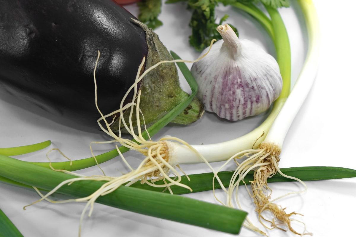 eggplant, garlic, leek, purple onion, vegetable, nature, onion, ingredients, leaf, food