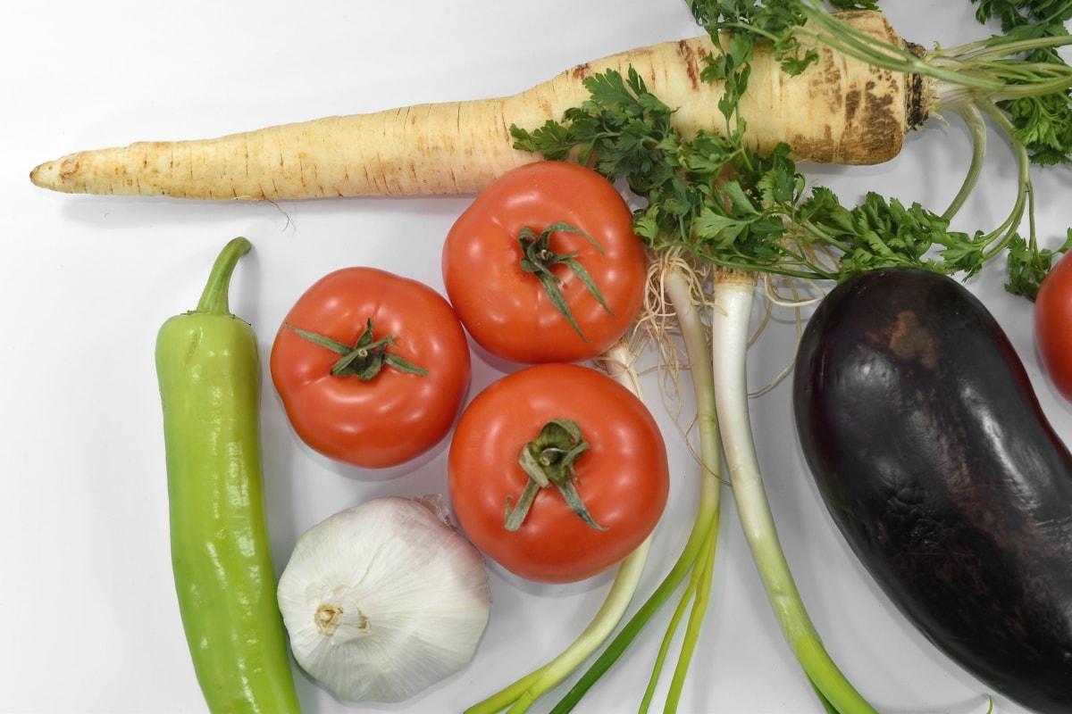 chili, eggplant, garlic, leek, parsley, tomatoes, vegan, wild onion, produce, tomato