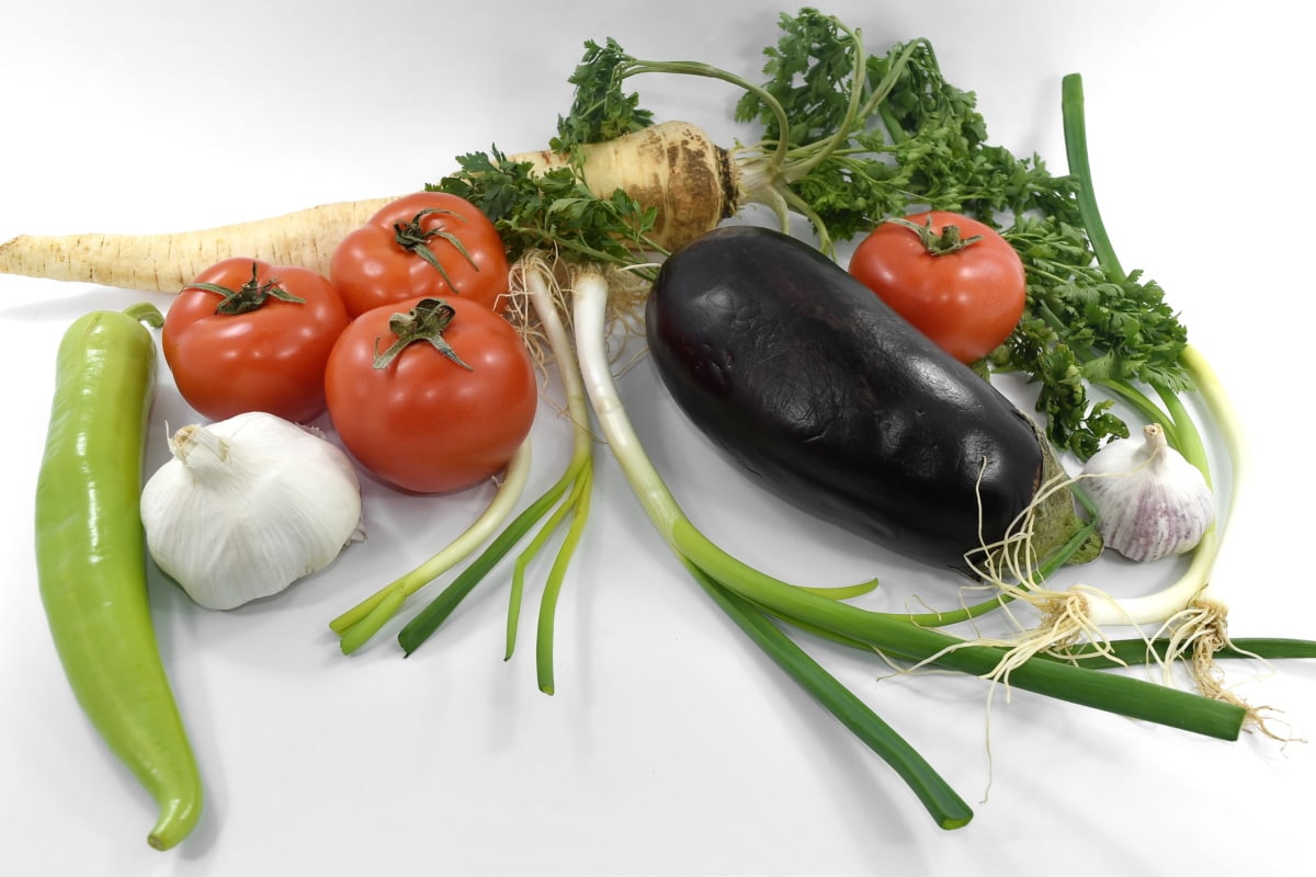 eggplant, garlic, ingredients, onion, parsley, tomatoes, agriculture, cabbage, cooking, diet
