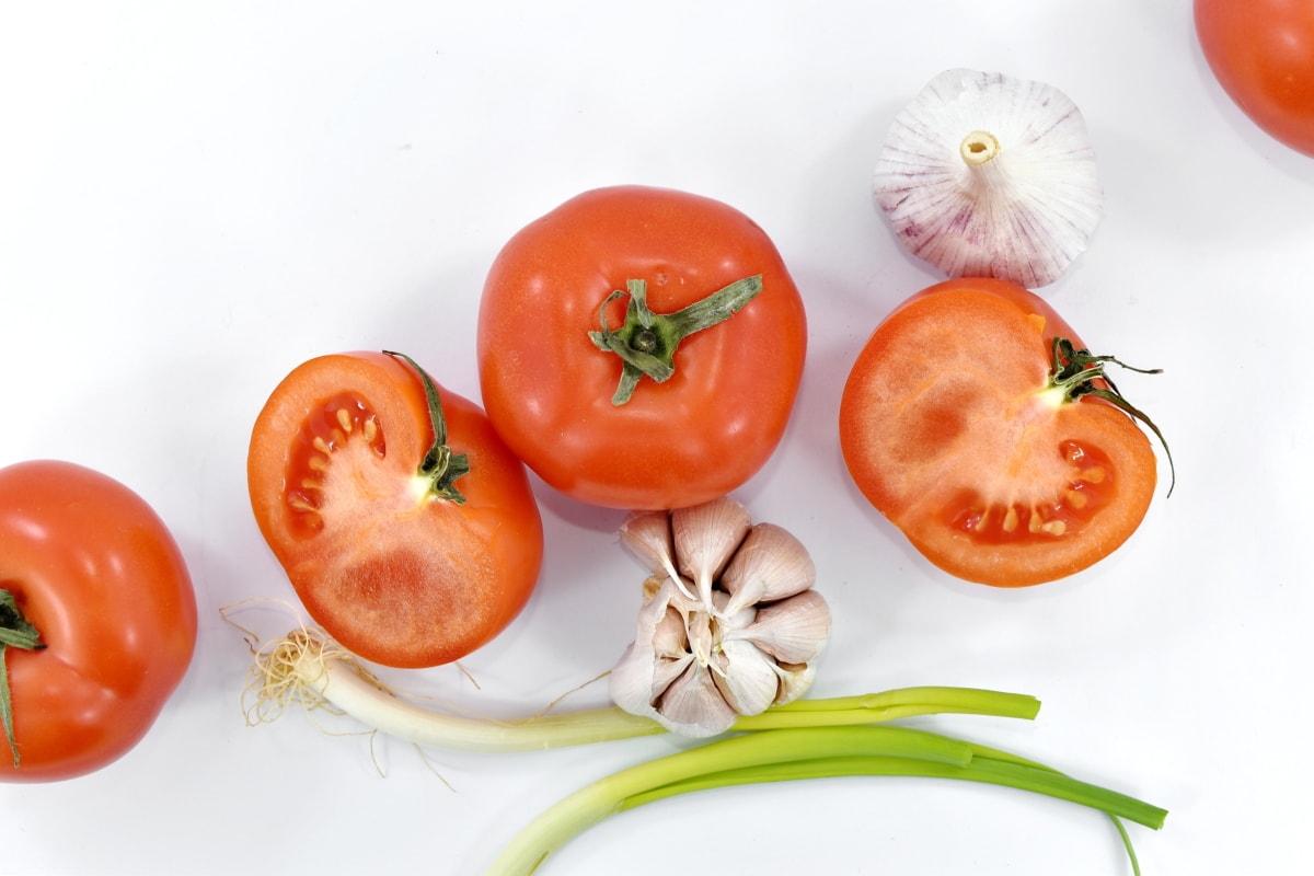 aroma, cross section, garlic, half, leek, organic, spice, tomatoes, wild onion, vegetable