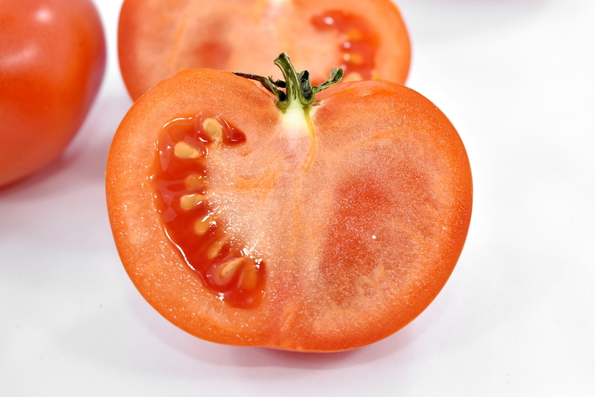 cross section, fresh, half, red, seed, tomato, vegetable, wet, food, vitamin