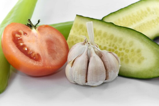 appetite, appetizer, aromatic, cucumber, delicious, garlic, slices, tomato, produce, vegetable