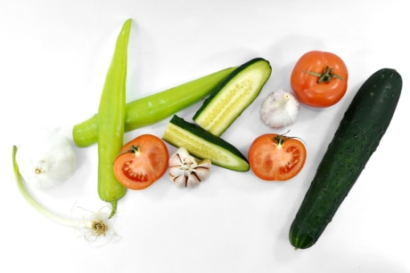 aromatic, chili, cucumber, organic, products, tomatoes, wild onion, food, tomato, produce