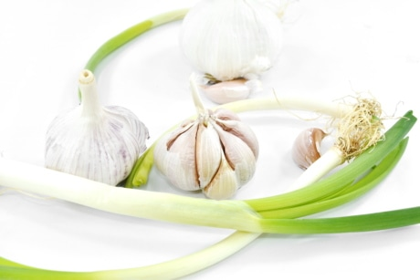 antibacterial, antioxidant, aroma, garlic, green leaves, root, spice, vitamins, food, onion