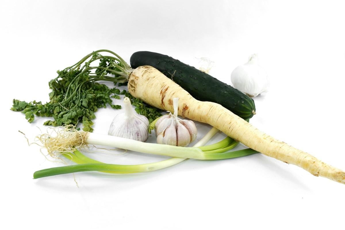 antioxydant, concombre, frais, ail, herbe, poireau, persil, pimenter, produire, alimentaire