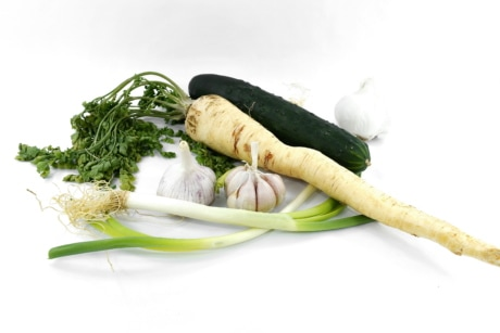 antioxidant, cucumber, fresh, garlic, herb, leek, parsley, spice, produce, food