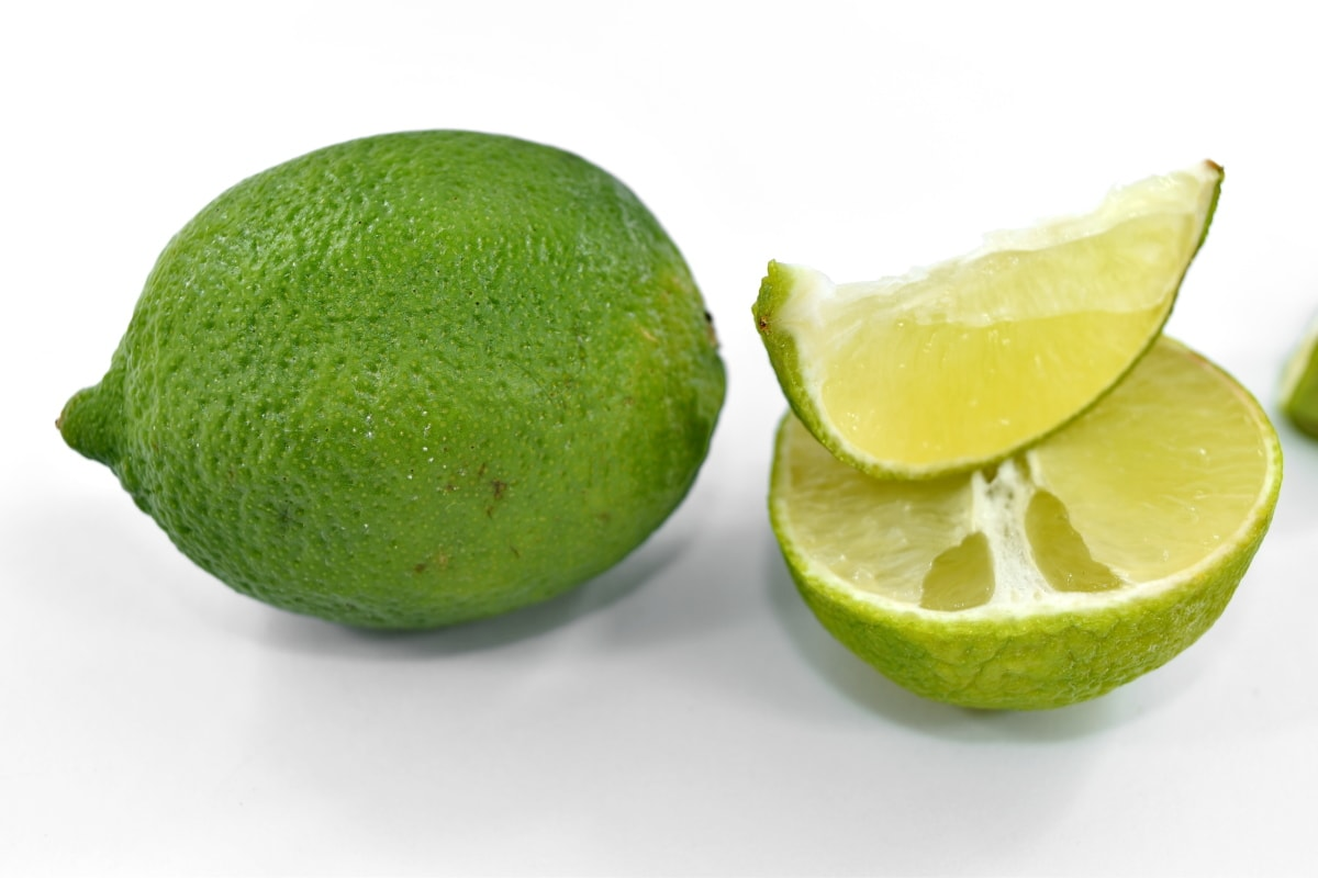 fresh, half, key lime, lemon, ripe fruit, side view, skin, wet, fruit, vitamin