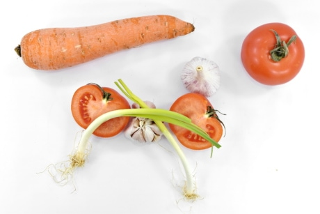 carrot, garlic, leek, root, tomatoes, vegetable, food, nutrition, leaf, ingredients