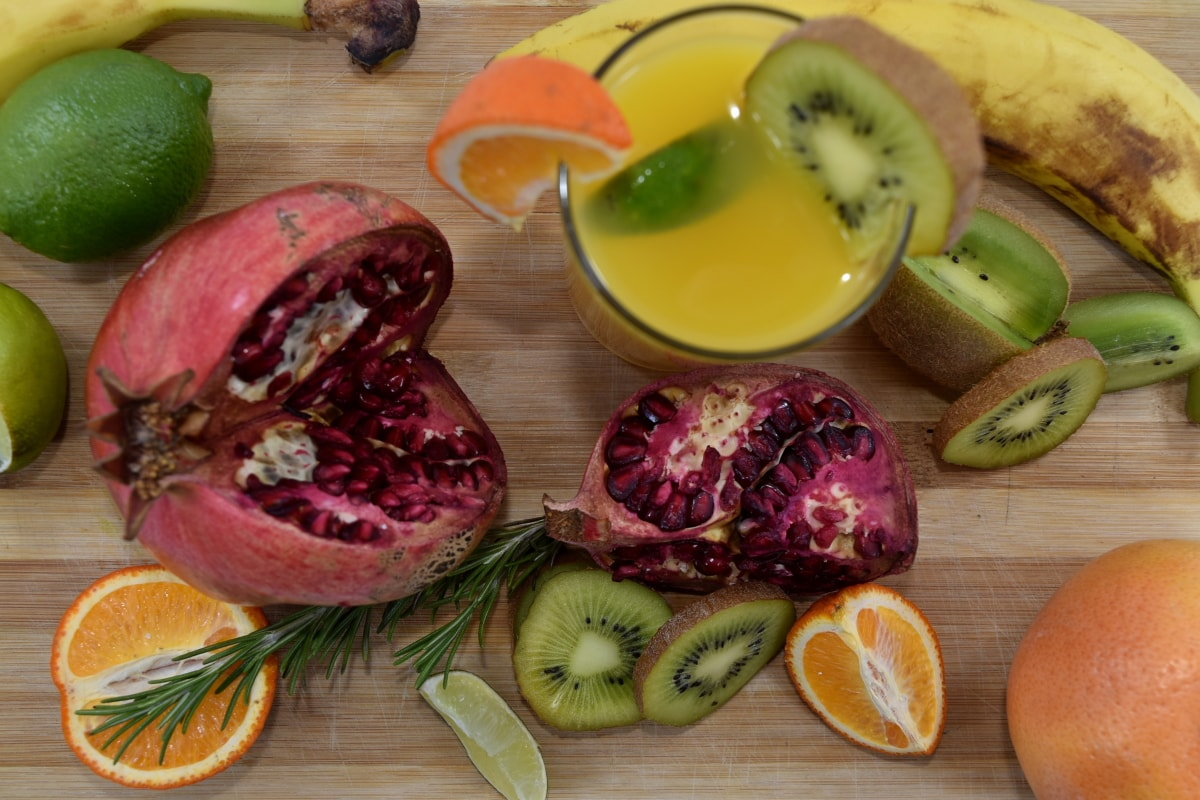 aromatic, banana, beverage, delicious, fresh, fruit cocktail, grapefruit, key lime, kiwi, mandarin