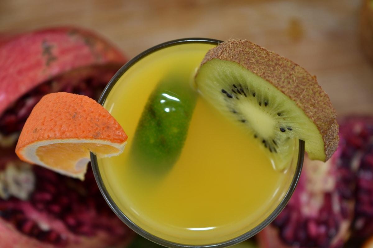 drink, fresh, fruit cocktail, fruit juice, key lime, kiwi, liquid, pomegranate, tea, wet