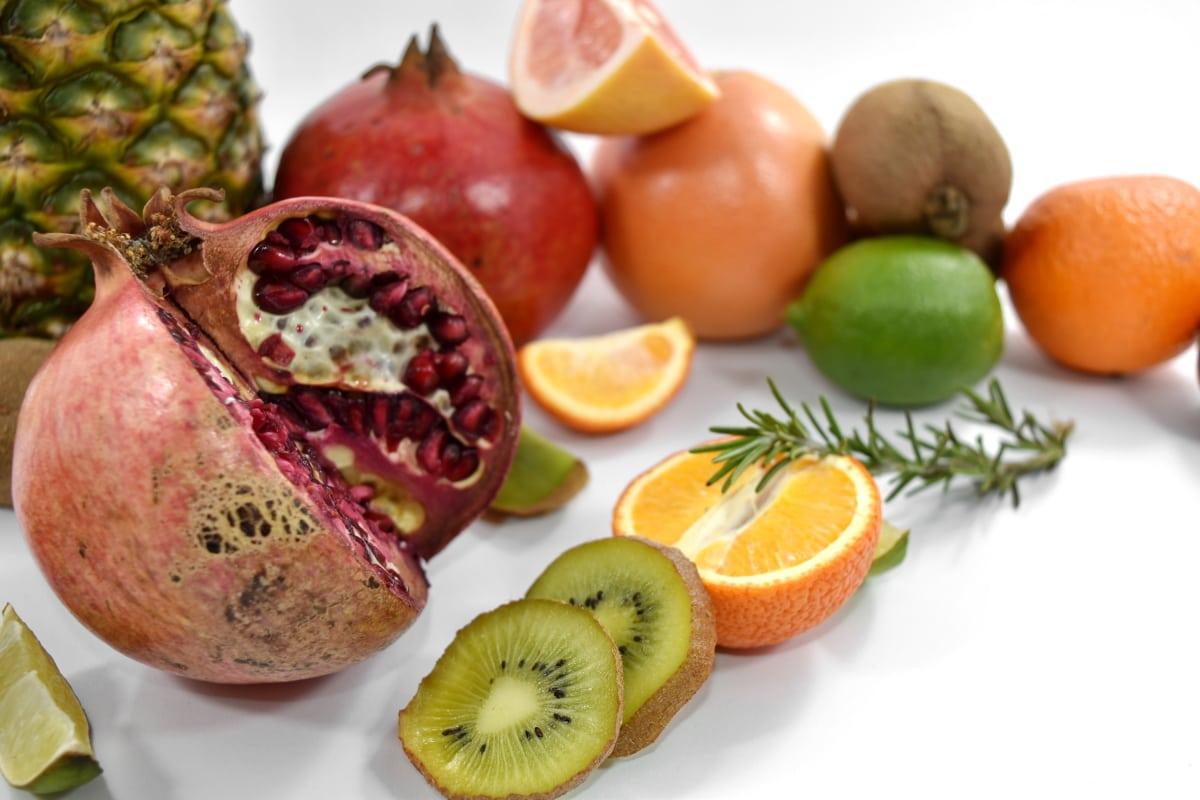 exotic, fresh, grapefruit, kiwi, mandarin, pineapple, pomegranate, ripe fruit, seed, slices