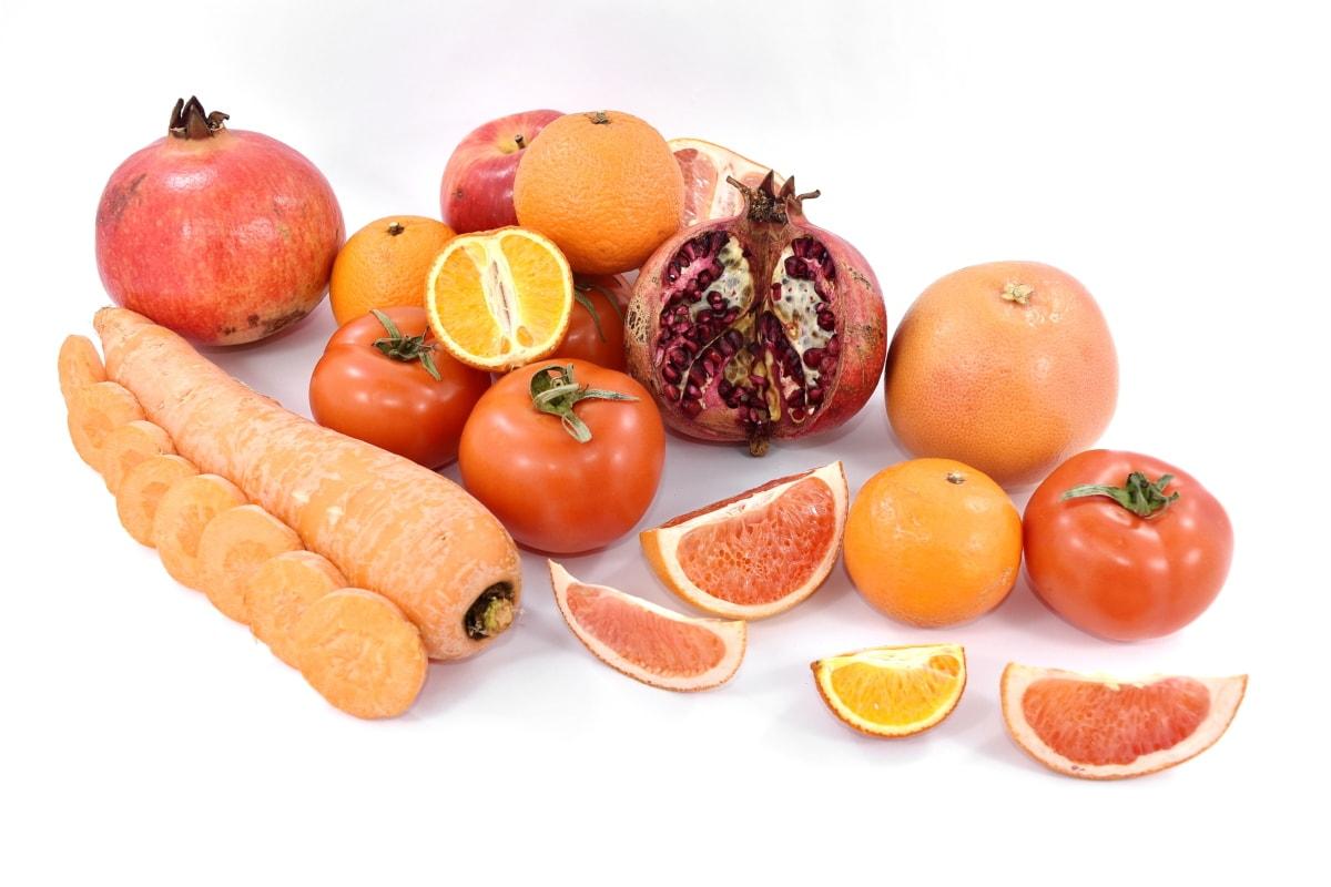 carrot, fruit, grapefruit, mandarin, orange yellow, oranges, pomegranate, red, tomatoes, vegetables