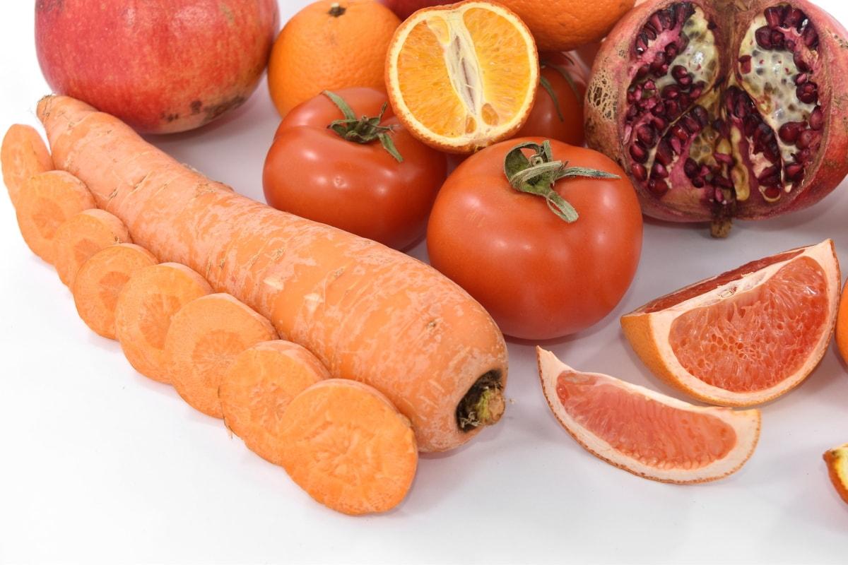 antioksidans, mrkva, svježe, grejp, narančasto žuta, crveno, kriške, rajčice, veganski, dijeta