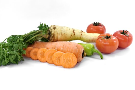 agriculture, carrot, chili, fresh, parsley, products, root, slices, tomatoes, vegetables