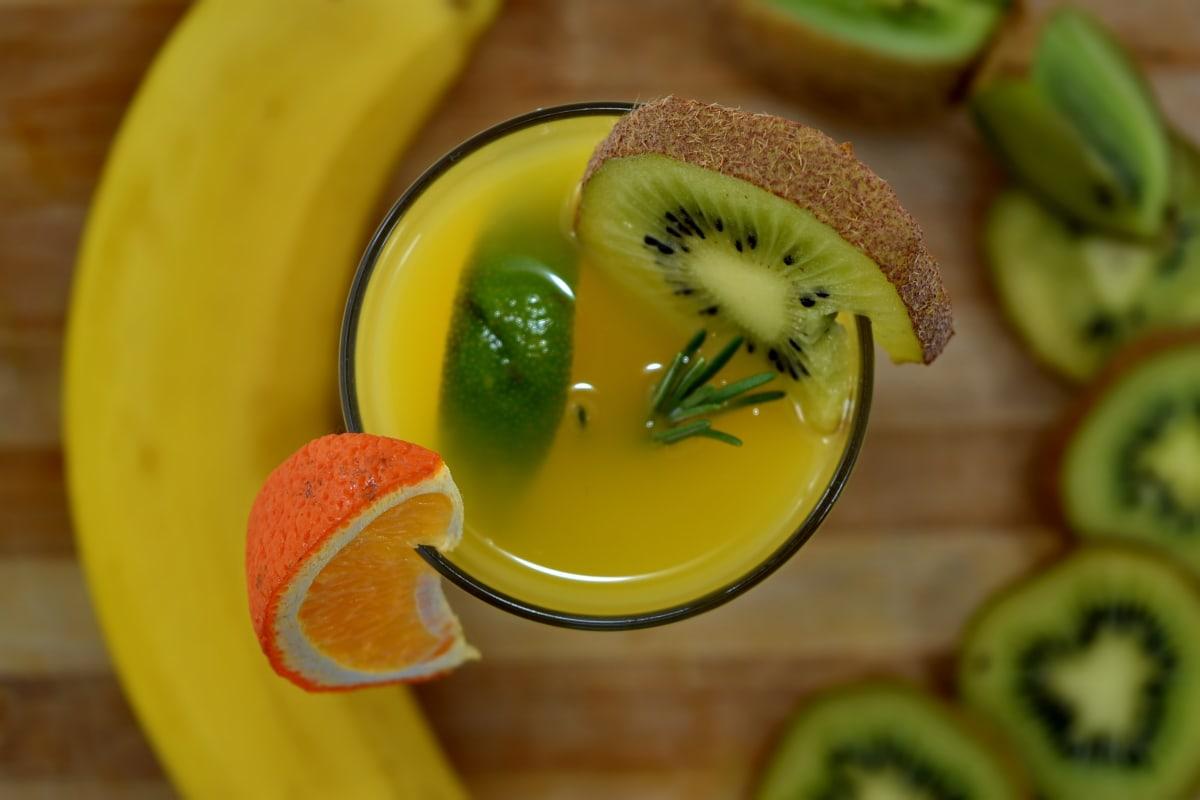 banana, breakfast, drink, fruit juice, kiwi, lemonade, vitamin C, tropical, food, juice