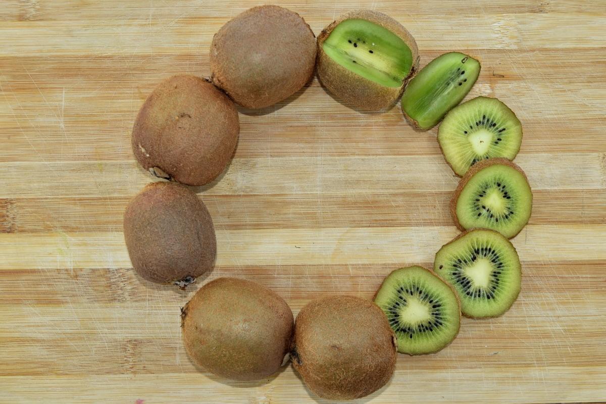 αντιοξειδωτικό, ασκορβικό οξύ, φρούτα, ακτινίδιο, φέτες, βιταμίνη C, σύνολο, τροφίμων, ξύλο, υγεία